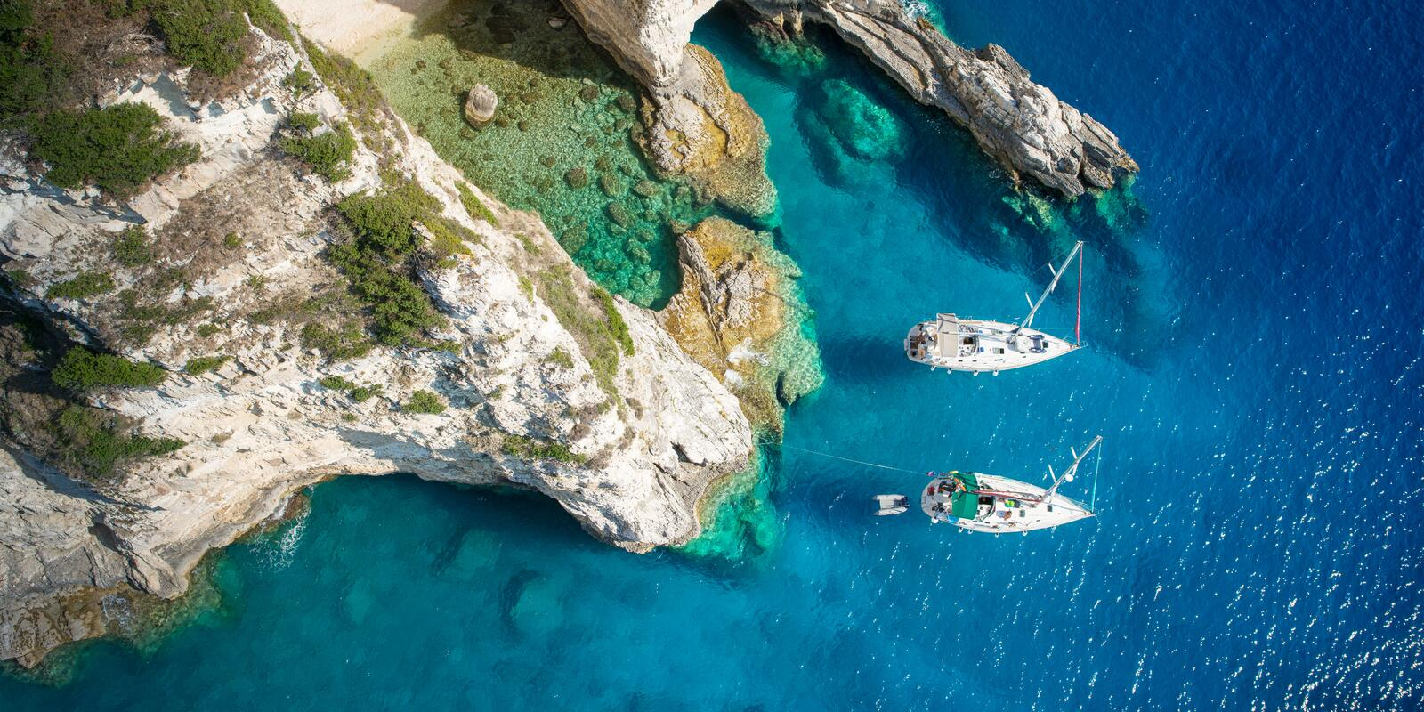 Spring sailing on the east coast of Corfu! City bays and crystal clear sea to visit!