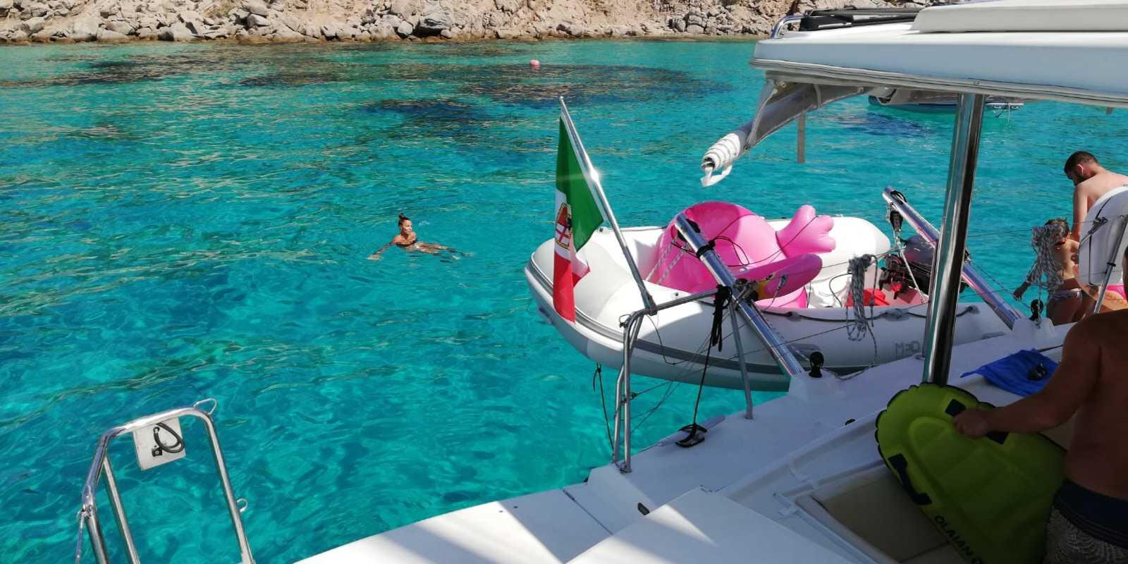 April 25 on a luxurious catamaran to the Maddalena Archipelago